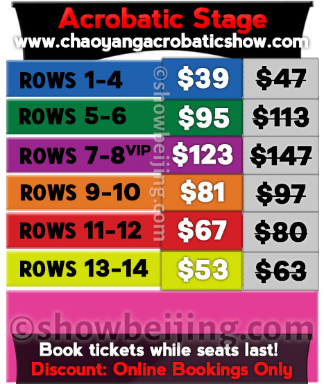 Chaoyang Theatre Seat Map & Ticket Prices USD